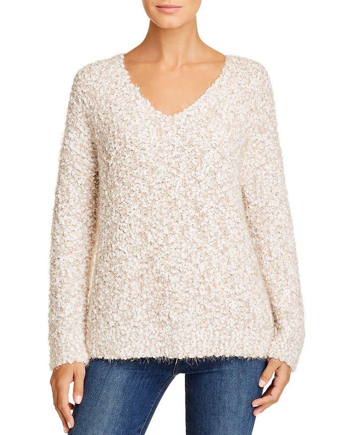 Cupio - V-Neck Popcorn-Stitch Sweater