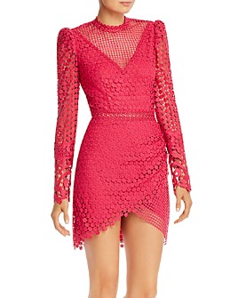 Saylor - Crochet Lace Long Sleeve Mini Dress