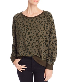Rails - Theo Flocked Animal-Print Sweatshirt