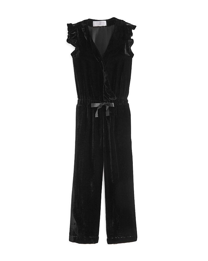 Bella Dahl - Girls' Faux Wrap Velvet Jumpsuit - Little Kid, Big Kid