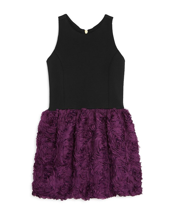 AQUA - Girls' Floral Appliqué Dress, Big Kid - 100% Exclusive