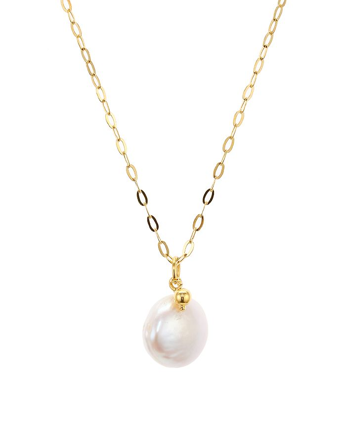 "Argento Vivo - Cultured Freshwater Pearl Pendant Necklace in 18K Gold-Plated Sterling Silver, 16""-18"""