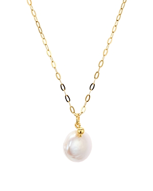 Argento Vivo Cultured Freshwater Pearl Pendant Necklace in 18K Gold-Plated Sterling Silver, 16-18