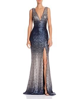 AQUA - Sequin V-Neck Gown - 100% Exclusive