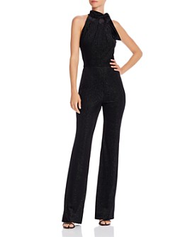 Black Halo - Audrey Metallic Striped Velvet Jumpsuit