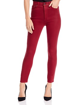 Alice and Olivia - Good High-Rise Coated Skinny Jeans in Bordeaux