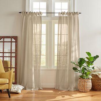 "Elrene Home Fashions - Vienna Tie-Top Sheer Curtain Panel, 52"" x 84"""