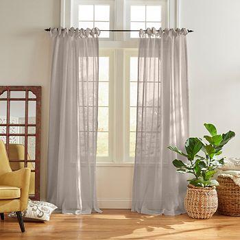 "Elrene Home Fashions - Vienna Tie-Top Sheer Curtain Panel, 52"" x 95"""