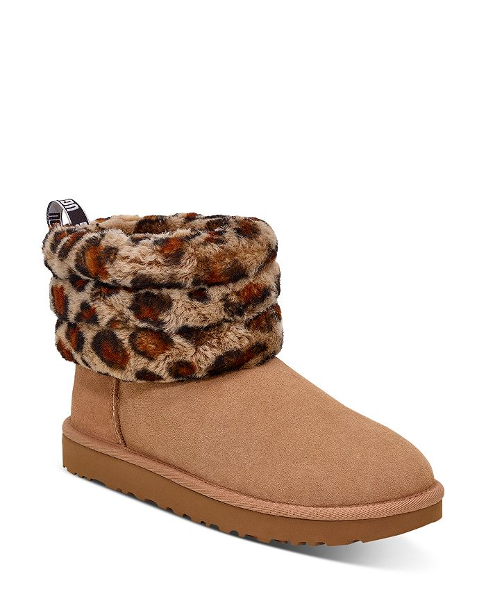 Ugg® Women's Fluff Mini Quilted Round Toe Suede & Sheepskin Boots