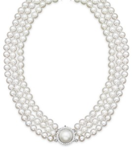 """Bloomingdale's - Cultured Freshwater Pearl Necklace with Diamond Accents, 16""""- 100% Exclusive"""