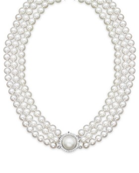 "Bloomingdale's - Cultured Freshwater Pearl Necklace with Diamond Accents, 16"" - 100% Exclusive"