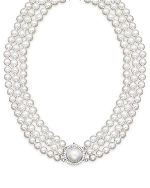 Cultured Freshwater Pearl Necklace with Diamond Accents, 16