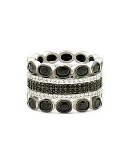 Freida Rothman - Industrial Finish Five-Stack Ring in Rhodium-Plated Sterling Silver