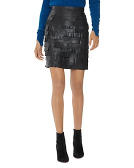 HALSTON - Tiered Ruffled Leather Skirt