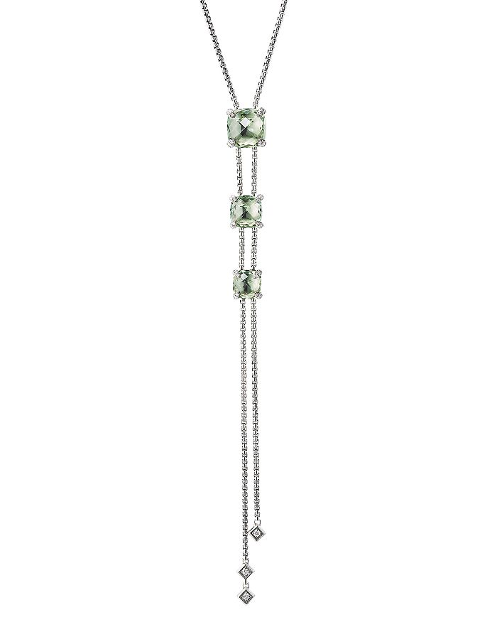 David Yurman - Sterling Silver Châtelaine®  Y Necklace with Prasiolite & Diamonds, 34""