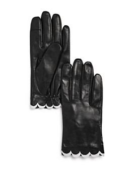 kate spade new york - Scalloped Leather Tech Gloves