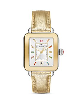 MICHELE - Deco Sport Two-Tone Lizard Strap Watch, 34mm x 36mm