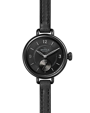 Shinola The Birdy SubSecond Black Leather Strap Watch, 34mm-Jewelry & Accessories
