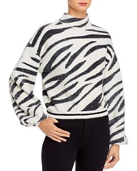 Bardot - Balloon-Sleeve Zebra-Stripe Sweater