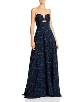 SAU LEE - Nanette Burnout Velvet Ball Gown