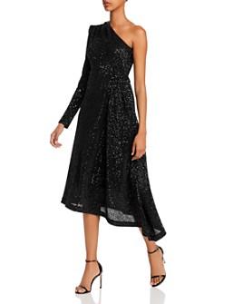 Rebecca Vallance - Mona One-Shoulder Asymmetric Sequin Midi Dress