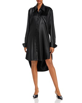 alexanderwang.t - Wet Shine Wash & Go Oversized Button-Down Dress