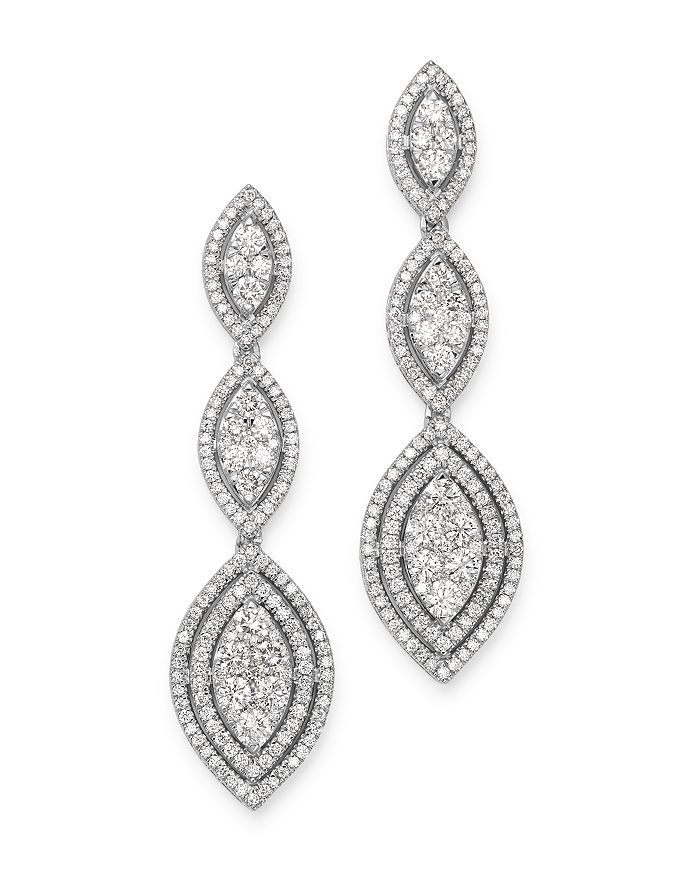 Bloomingdale's - Cluster Diamond Statement Drop Earrings in 14K White Gold, 3.0 ct. t.w. - 100% Exclusive