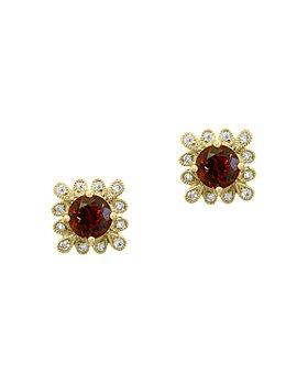 Bloomingdale's - Garnet & Diamond Stud Earrings in 14K Yellow Gold - 100% Exclusive