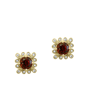 Bloomingdale's Garnet & Diamond Stud Earrings in 14K Yellow Gold - 100% Exclusive