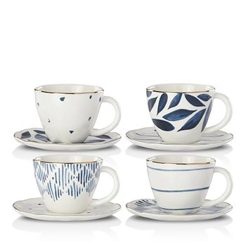 Lenox - Blue Bay Espresso Cup and Saucer, Set of 4