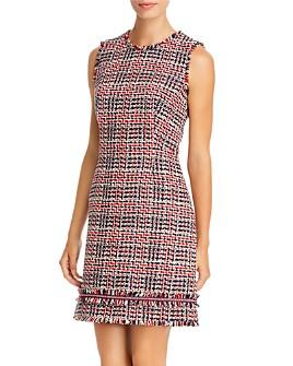 PAULE KA - Prince de Galles Checked & Fringed Tweed Dress