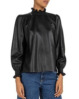 ba&sh - Mylo Puff-Sleeve Leather Top