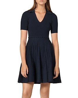 Sandro - Zoey Pleated Knit Dress