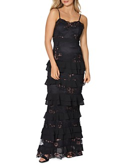 Laundry by Shelli Segal - Embellished Tiered Lace Gown