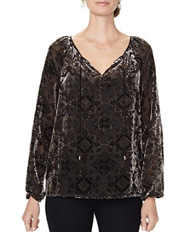 NYDJ - Velvet-Burnout Peasant Top