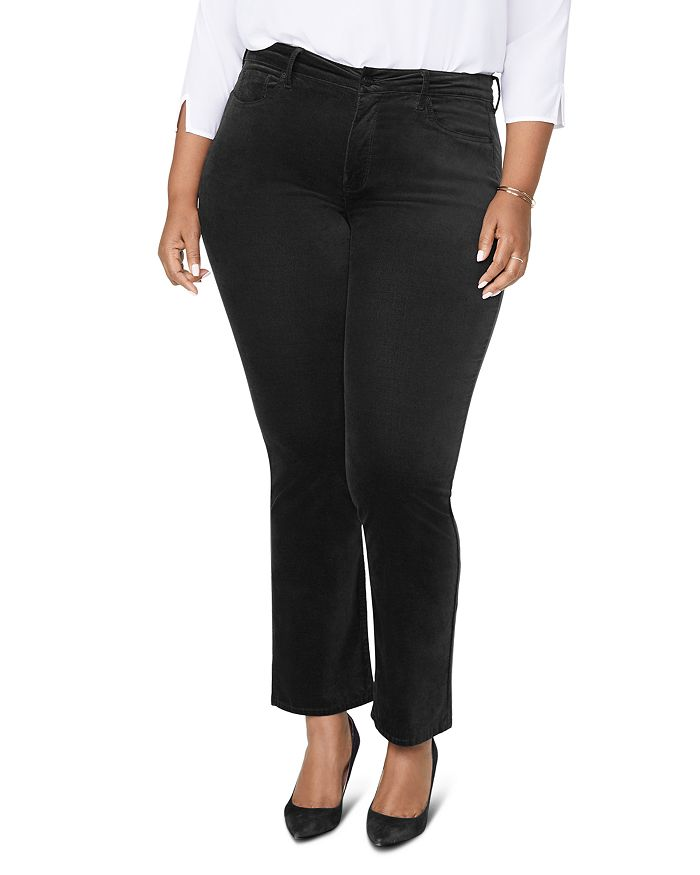 NYDJ Plus - Marilyn Velvet Straight-Leg Jeans in Black