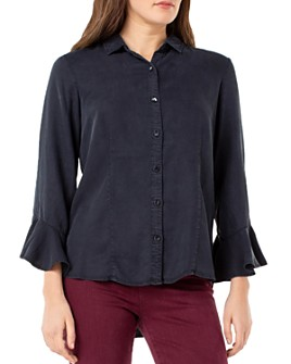 Liverpool Los Angeles - Button-Front Flounce-Sleeve Top