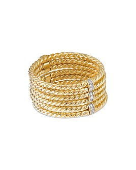 David Yurman - 18K Yellow Gold Origami Six-Row Cable Ring with Diamonds