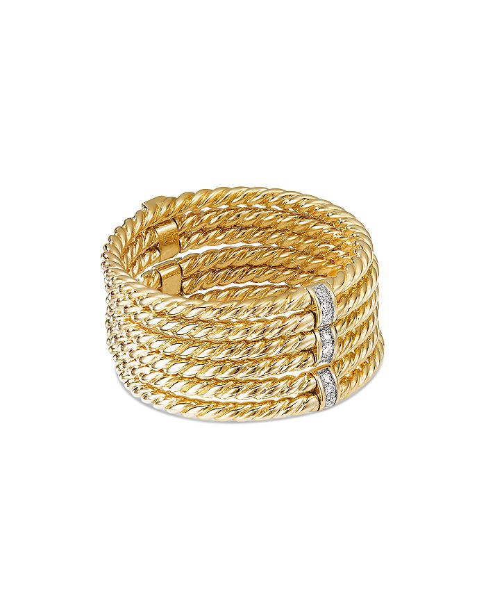 David Yurman - 18K Yellow Gold Origami Six-Row Cable Ring with Diamonds