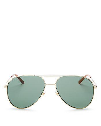 Gucci - Men's Brow Bar Aviator Sunglasses, 59mm