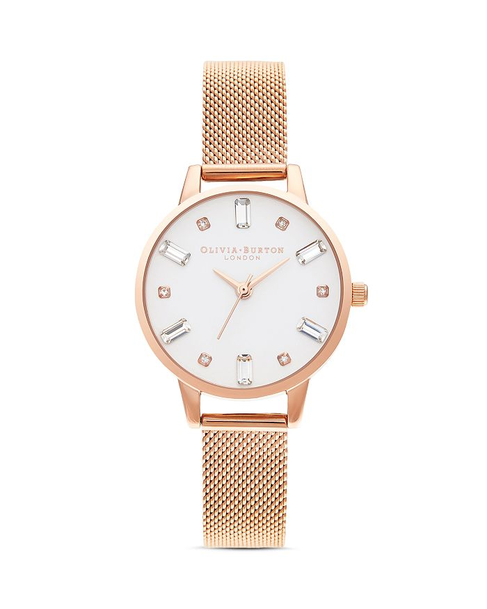 Olivia Burton - Bejeweled Mesh Bracelet Watch, 30mm