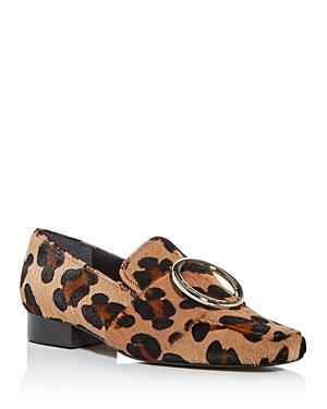 Dorateymur Women's Leopard Print Calf Hair Square-Toe Loafers