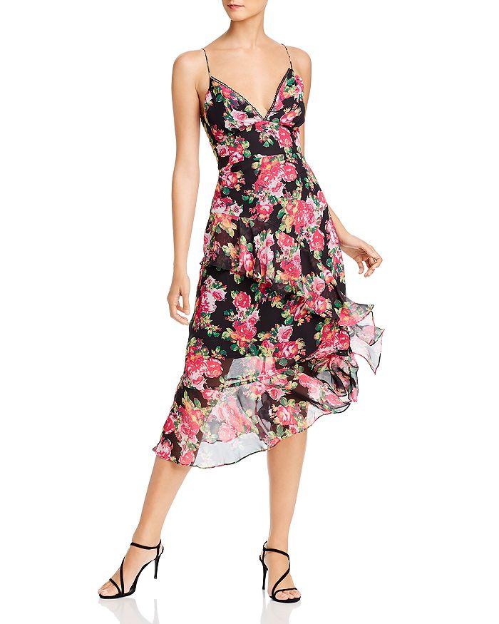 AQUA - Ruffled Floral Midi Dress - 100% Exclusive