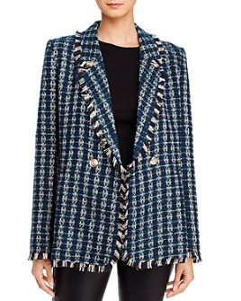 AQUA - Plaid Tweed Double-Breasted Blazer - 100% Exclusive