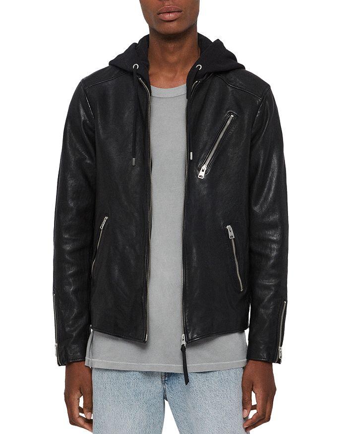 Allsaints Harwood Hooded Leather Jacket In Black