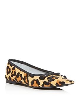 SCHUTZ - Women's Arissa Leopard Print Calf Hair Square-Toe Flats