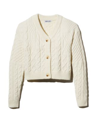 Cropped Mixed Cable Cardigan Sweater by Vox Lux