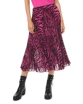 MICHAEL Michael Kors - Pleated Tiger-Print Georgette Skirt