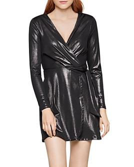 BCBGENERATION - Metallic Faux-Wrap Dress