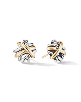 David Yurman - Sterling Silver & 18K Yellow Gold Crossover Stud Earrings